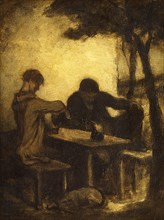 The Drinkers, by 1861. Creator: Honore Daumier.