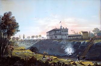 View of the Tunnel of the Harlem Railroad, ca.1837. Creator: Nicolino Calyo.