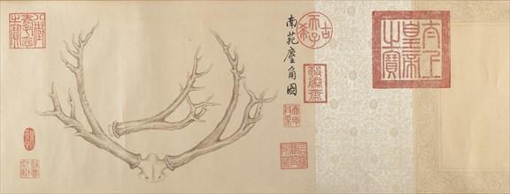 Two Paintings of Deer Antlers, dated 1762 and 1767. Creator: Emperor Qianlong.