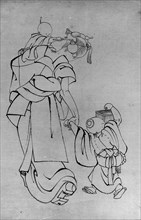 Mother and Children in Summer Night, 18th-19th century. Creator: School of Katsushika Hokusai.
