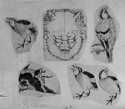 Four sketches of birds and one design for a grotesque mask, mounted together, 18th-19th century. Creator: School of Katsushika Hokusai.
