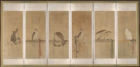 Tethered Hawks, before 1606. Creator: Soga Chokuan.