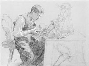 Study of a Boy Carving a Crucifix, ca. 1908. Creator: Toby E Rosenthal.