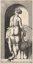 Plate 4: Juno standing in a niche, viewed from behind, stroking a peacock to her right, fr..., 1526. Creator: Giovanni Jacopo Caraglio.
