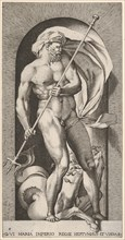 Plate 5: Neptune standing in a niche holding a trident, with a hippocampus