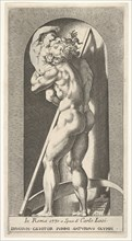Plate 1: Saturn in a niche devouring his son, standing before a scythe, from a series of m..., 1526. Creator: Giovanni Jacopo Caraglio.