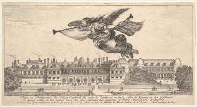 View of the Palais Cardinal, the figure of Fame at top center flying towards the left a..., 1649-51. Creator: Stefano della Bella.