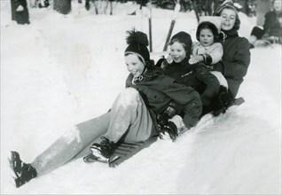 Swedish royal kids in the snow, 13 Jan 1950. Creator: Unknown.