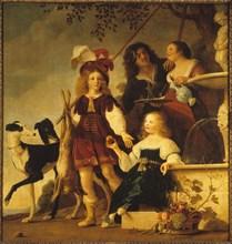 Allegorical family portrait, 1642. Creator: Couwenbergh, Christiaen van