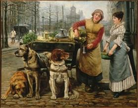 The Milkmaid with dog cart on the De Keyserlei in Antwerp , c. 1890. Creator: Houben, Henri