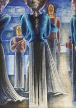 Group Of Blue Women, 1931. Creator: Schlemmer, Oskar