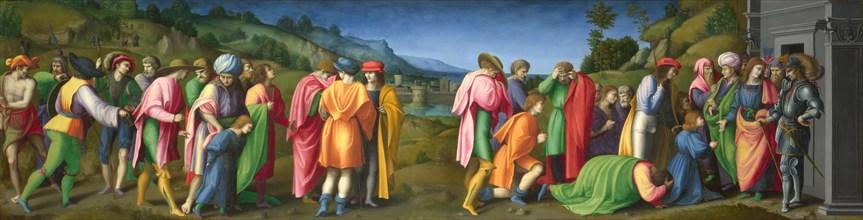 Joseph pardons his Brothers, ca 1515. Creator: Bacchiacca, Francesco