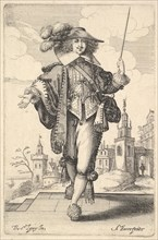 A gentleman walking forward, with his right arm outstretched and a whip in his left hand..., 1629. Creator: Abraham Bosse.