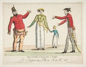 Recontre d'Anglais a Paris; Le Suprême Bon-Ton No. 23, ca. 1815. Creator: Adrien Pierre François Godefroy the Younger.