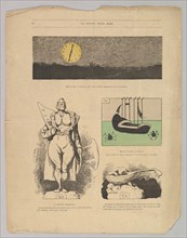 Caricatures of paintings by Daubigny and others in Le Salon Pour Rire, ca. 1868. Creator: Andre Gill.