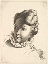 Head of a Woman Wearing a Ruff, from Livre de Têtes Gravées d'apres F. Boucher et ..., 18th century. Creator: Unknown.