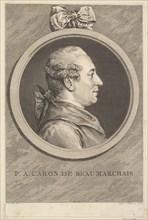 Portrait of P. A. Caron de Beaumarchais, 1773. Creator: Augustin de Saint-Aubin.