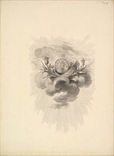 Vignette with a Medal depicting Harpocrate and Lotus Flowers, Volume I, Page 12, from D..., 1778-80. Creator: Augustin de Saint-Aubin.