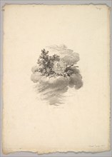 Vignette with Coin on a Cloud with Roses to the left and Doves Below and to the Right..., 1778-80. Creator: Augustin de Saint-Aubin.