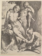Oreads Removing a Thorn from a Satyr's Foot, 1590. Creators: Bartholomeus Spranger, Jan Muller.