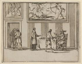 Francesco I d'Este Instructing for Alms to be Given to the Poor, from L'Idea di un Princip..., 1659. Creator: Bartolomeo Fenice.