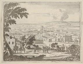 Francesco I d'Este Suffers the Mortal Blow of a Bullet While Under Pavia and Retreats into..., 1659. Creator: Bartolomeo Fenice.
