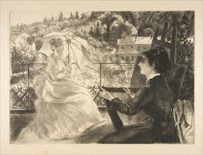 La Terrasse de la VIlla Brancas, 1876. Creator: Felix Bracquemond.