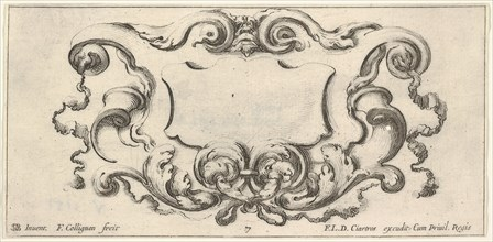 Plate 7: a cartouche with the mask of an ogre at top center, scrollwork to either s..., ca. 1640-45. Creator: Francois Collignon.