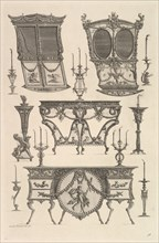 Miscellaneous furniture including two sedan chairs, a side table and a commode