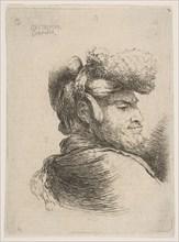 Man in profile facing right, wearing a fur hat, from series of 'Small Heads in Orie..., ca. 1645-50. Creator: Giovanni Benedetto Castiglione.