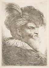 Head of an old man facing right, from the series of 'Large Oriental Heads', ca. 1645-1650. Creator: Giovanni Benedetto Castiglione.