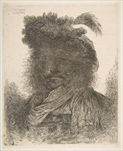 Head of a man in shadow turned slightly to the left, from the series of 'Large Or..., ca. 1645-1650. Creator: Giovanni Benedetto Castiglione.