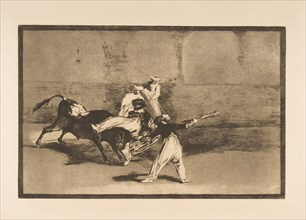 Plate 8 from the 'Tauromaquia': A moor caught by the bull in the ring, ca. 1816. Creator: Francisco Goya.