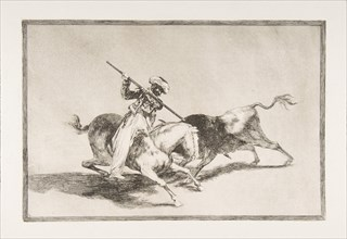 Plate 5 from 'The Tauromaquia': The spirited Moor Gazul is the first to spear bulls accord..., 1816. Creator: Francisco Goya.