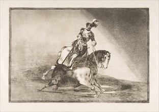 Plate 10 from 'La Tauromaquia': Charles V spearing a bull in the ring at Valladolid, 1816. Creator: Francisco Goya.