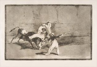 Plate 8 of the'Tauromaquia': A Moor caught by the bull in the ring, 1816. Creator: Francisco Goya.
