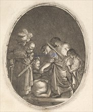 Salome receiving the head of John the Baptist, surrounded by three men and a child bea..., ca. 1610. Creator: Hendrik Goudt.