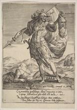 Judah with the Head of Adonibezek, from Willem van Haecht, Tyrannorum proemia, 1578, 1578. Creator: Hieronymous Wierix.