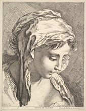 Head of a Woman, mid to late 18th century. Creator: Jacques Gabriel Huquier.