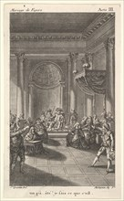 A man seated in a chair on a stepped platform holds an audience, two pointing men stan..., ca. 1784. Creator: Claude Nicolas Malapeau.