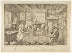 Razor's Levée, or Ye Heads of a New Wig Ad[ministration] on a Broad Bottom, April 21, 1783. Creator: James Sayers.