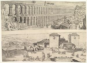 The Aqueduct at Segovia and The Castle of Madrid, 1500-1599. Creator: Jan Cornelisz Vermeyen.