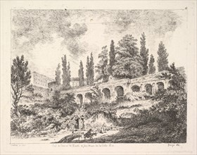 View of the entrance to Tivoli and the walls of the Villa d'Este, horsemen approac..., 18th century. Creator: Jean Claude Richard Saint-Non.