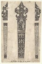 Design for knife handle to commemorate a marriage, ca. 1580-1600. Creator: Johann Theodor de Bry.