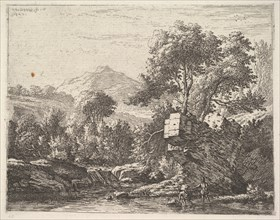Two men standing ankle-deep in a body of water with a rocky outcrop behind them, to the le..., 1658. Creator: Karel Du Jardin.