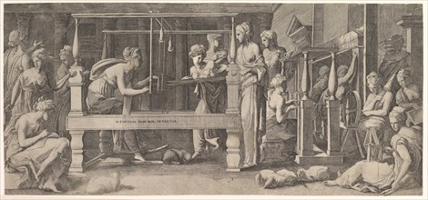 Women spinning, weaving and sewing, mid-16th century. Creator: Master FG