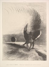 In the shadow of the wing, the black creature bit, 1891. Creator: Odilon Redon.