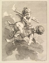 Two Cupids, One Carrying a Torch, Another a Bow, 1727-60. Creator: Pierre Alexandre Aveline.