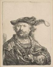 Self-Portrait in a Velvet Cap with Plume, 1638. Creator: Rembrandt Harmensz van Rijn.