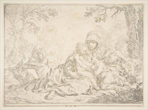 Holy Family with Saint John the Baptist, ca. 1637-1640. Creator: Simone Cantarini.